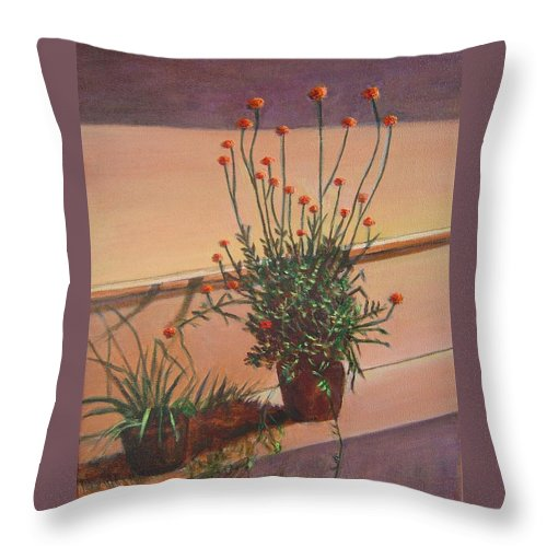 Pot Throw Pillow featuring the painting Potfull Of Bounty by Usha Shantharam