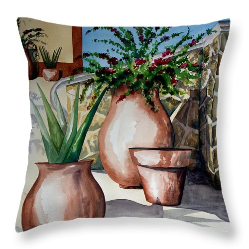 Floral Painting Throw Pillow featuring the painting Pots And Bougainvillea by Kandyce Waltensperger