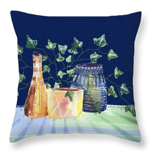 Ivy Throw Pillow featuring the digital art Pots And Ivy On Plaid by Arline Wagner