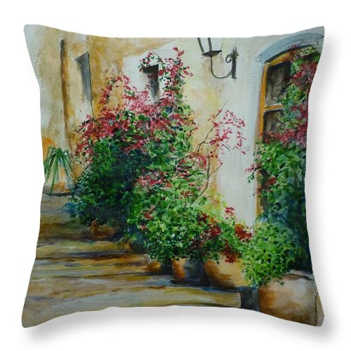 Earthenware Pots Throw Pillow featuring the painting Pots And Plants by Lizzy Forrester