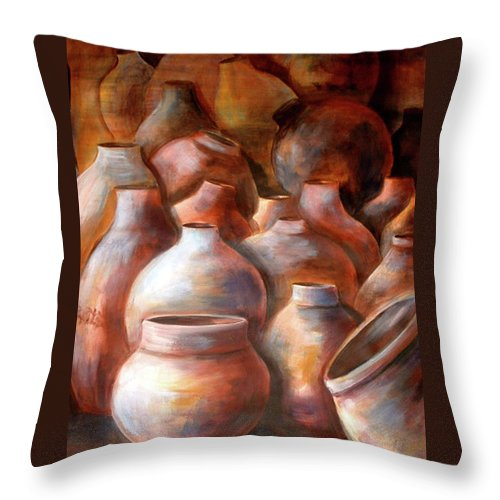 Pots Throw Pillow featuring the painting Pots In Morocco by Patricia Rachidi