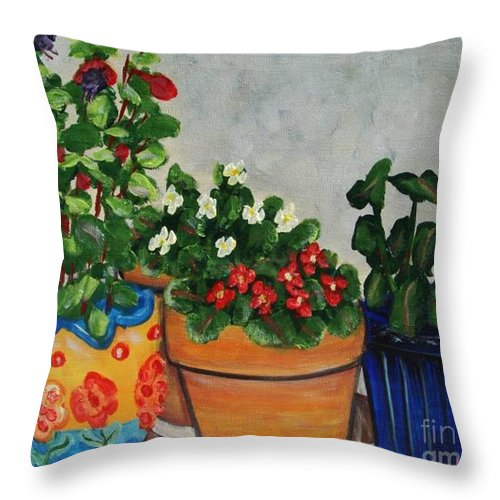 Ceramic Pots Throw Pillow featuring the painting Pots Showing Off by Laurie Morgan