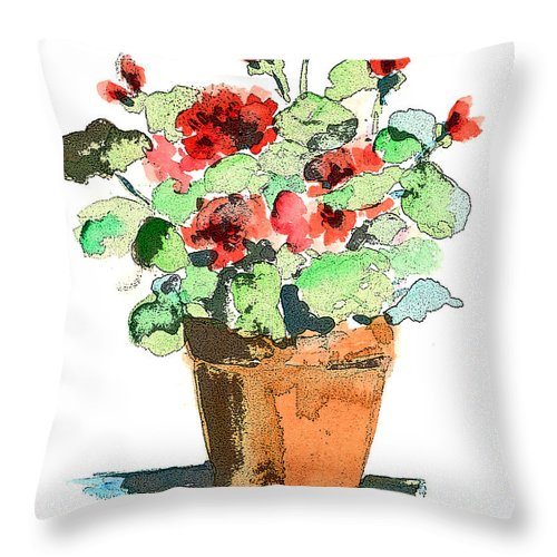 Plants Throw Pillow featuring the painting Potted Geraniums by Arline Wagner