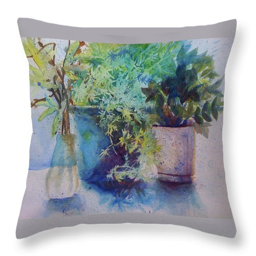 Plant Throw Pillow featuring the painting Potted Plant Study by Julie Morrison