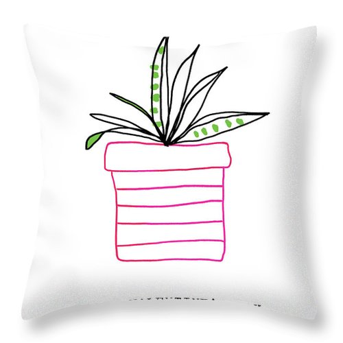 Plant Throw Pillow featuring the mixed media Potted Plant Valentine- Art By Linda Woods by Linda Woods