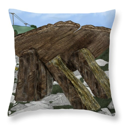 Landscape Throw Pillow featuring the painting Poulnabrone Dolmen County Clare Ireland by Anne Norskog