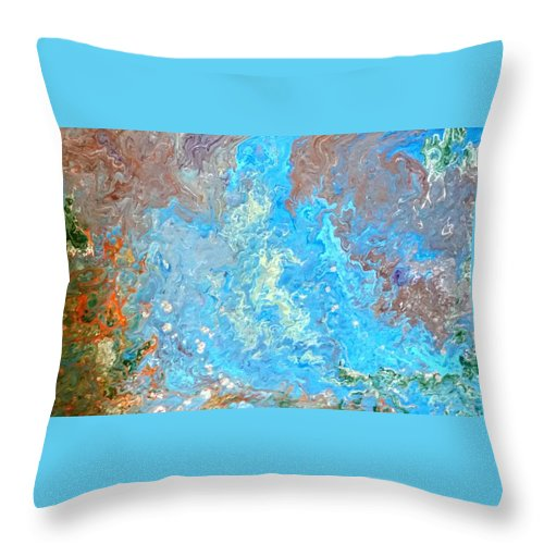 Acrylic Pour Throw Pillow featuring the painting Siskiyou Creek by Valerie Josi
