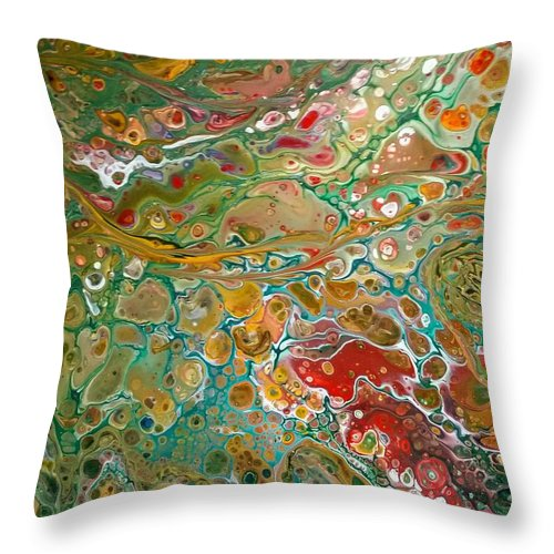 Pour Throw Pillow featuring the painting Pour10 by Valerie Josi