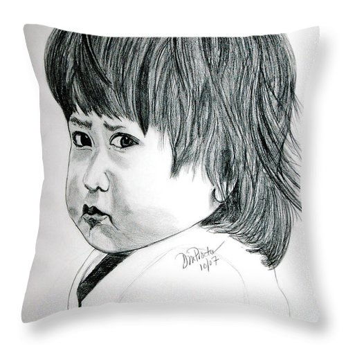 Drawing Throw Pillow featuring the drawing Pouty by Donna Proctor