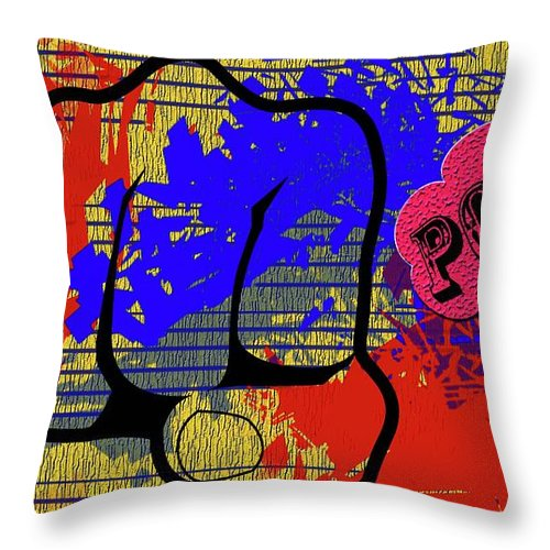 Fist Throw Pillow featuring the digital art Pow by Ankeeta Bansal