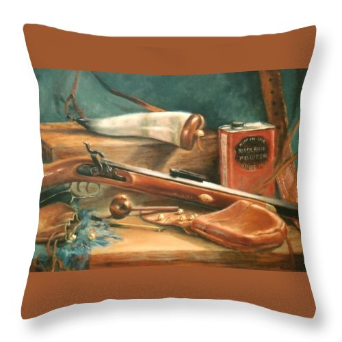 Gun Throw Pillow featuring the painting Powder Horn by Sharon Weaver