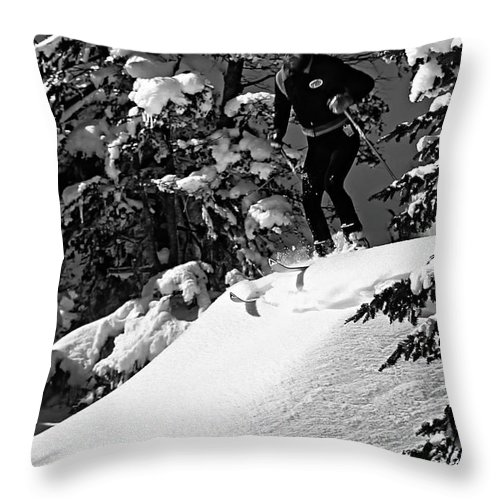 Smuggler's Notch Throw Pillow featuring the photograph Powder Hound Bw Version by Steve Harrington