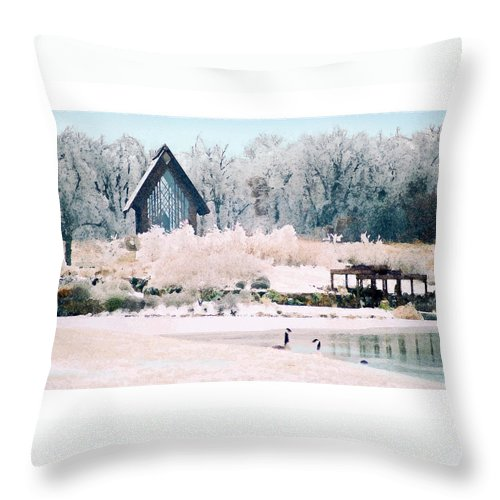 Landscape Throw Pillow featuring the photograph Powell Gardens Chapel by Steve Karol