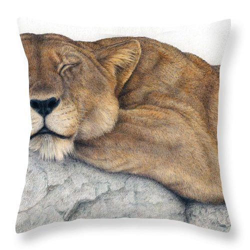 Big Cat Throw Pillow featuring the painting Power And Grace At Rest by Pat Erickson