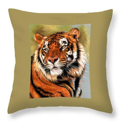 Tiger Throw Pillow featuring the pastel Power And Grace by Barbara Keith