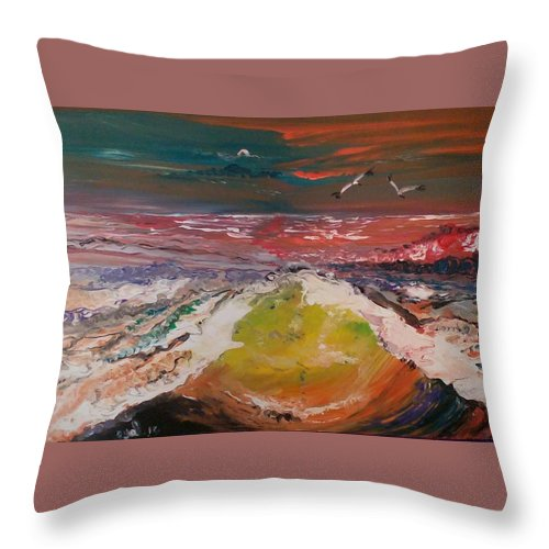 Artist Eyal Malek Acrylic Painted With Bare Hands Sea Ocean Two Birds Love Communication Throw Pillow featuring the painting Power by Eyal Malek