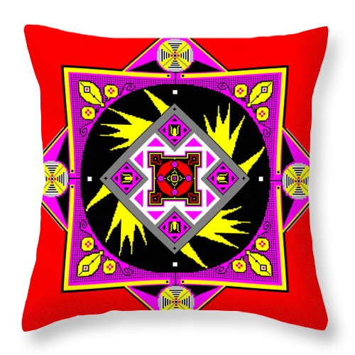 Square Throw Pillow featuring the digital art Power Generator Of The Bird People Of Deneb Vii by Eikoni Images