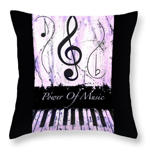 Power Of Music Purple Throw Pillow featuring the mixed media Power Of Music Purple by Wayne Cantrell
