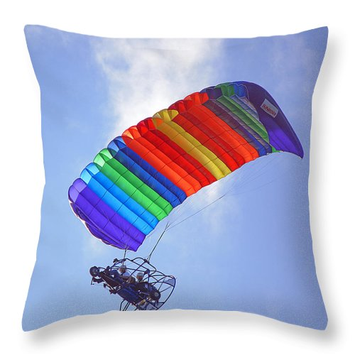 Parasail Throw Pillow featuring the photograph Powered Parasailing 1 by Kenneth Albin