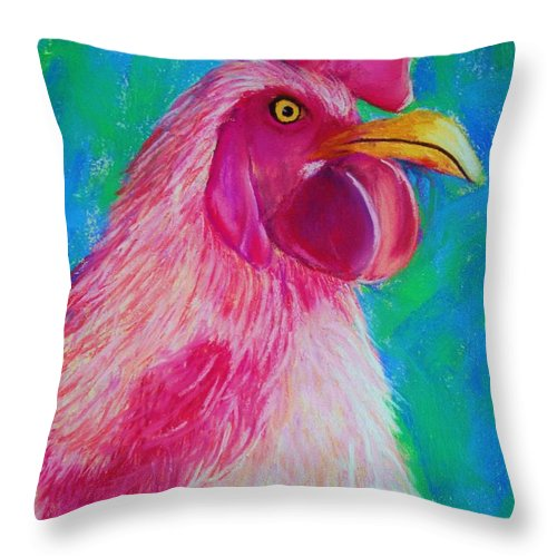 Rooster Throw Pillow featuring the painting Powerful In Pink by Melinda Etzold