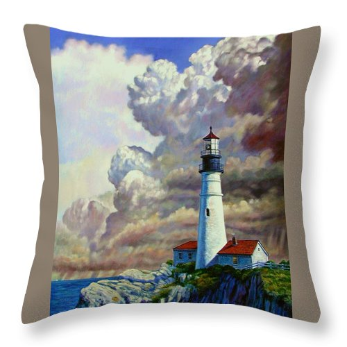 Lighthouse Throw Pillow featuring the painting Powering Up by John Lautermilch