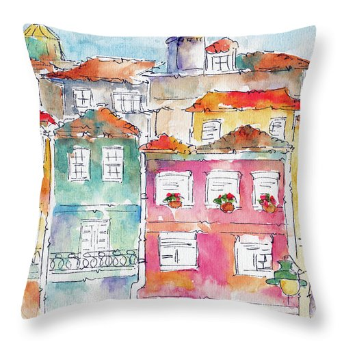 Impressionism Throw Pillow featuring the painting Praca Da Ribeira Porto by Pat Katz