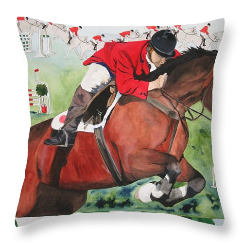 Horse Throw Pillow featuring the painting Practice Makes Perfect by Jean Blackmer