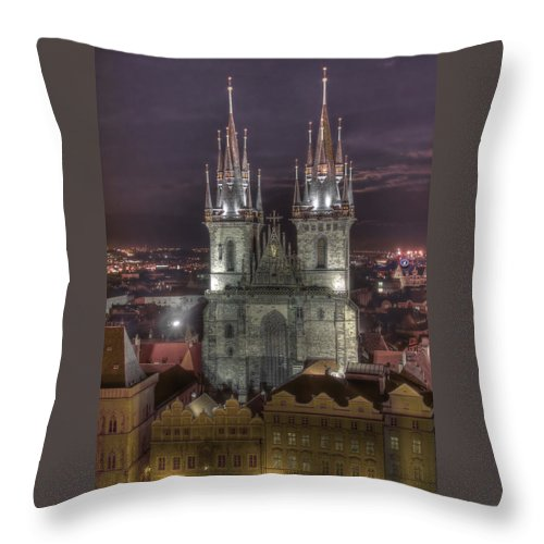 Czech Republic Throw Pillow featuring the photograph Prague At Night by Alan Toepfer