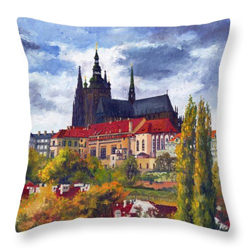 Prague Throw Pillow featuring the painting Prague Castle With The Vltava River by Yuriy Shevchuk