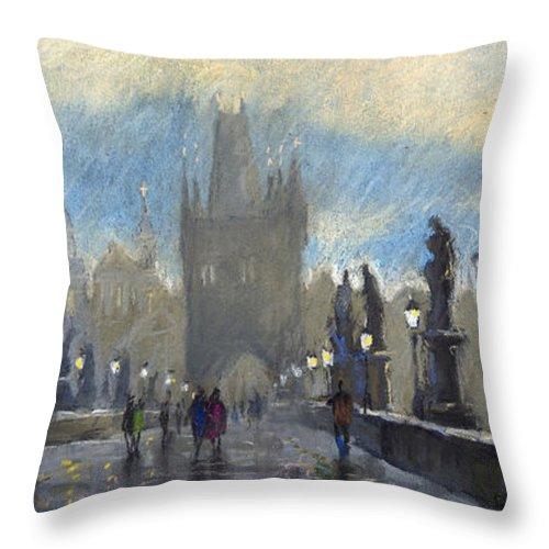 Pastel Throw Pillow featuring the pastel Prague Charles Bridge 06 by Yuriy Shevchuk