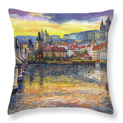 Oil On Canvas Throw Pillow featuring the painting Prague Charles Bridge and Prague Castle with the Vltava River 1 by Yuriy Shevchuk