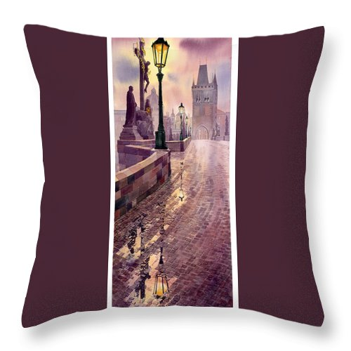 Watercolour Throw Pillow featuring the painting Prague Charles Bridge Night Light by Yuriy Shevchuk