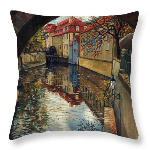 Oil Throw Pillow featuring the painting Prague Chertovka 3 by Yuriy Shevchuk