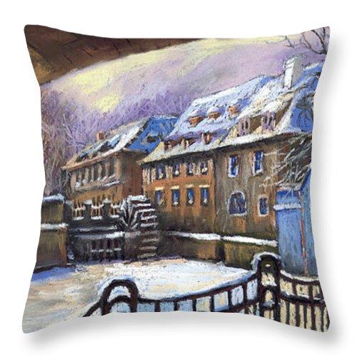 Pastel Throw Pillow featuring the painting Prague Chertovka Winter 01 by Yuriy Shevchuk