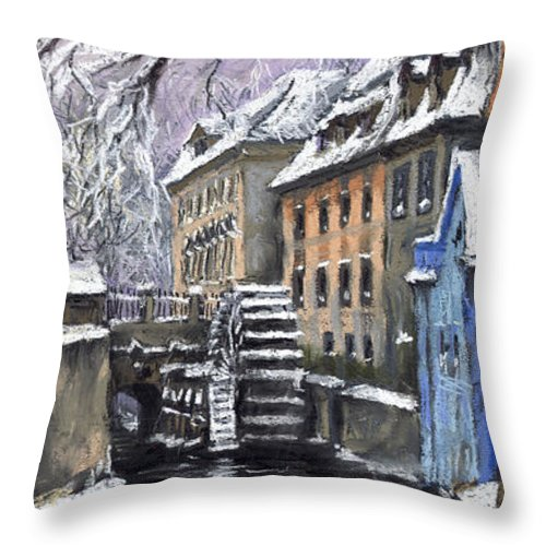 Pastel Throw Pillow featuring the painting Prague Chertovka Winter by Yuriy Shevchuk
