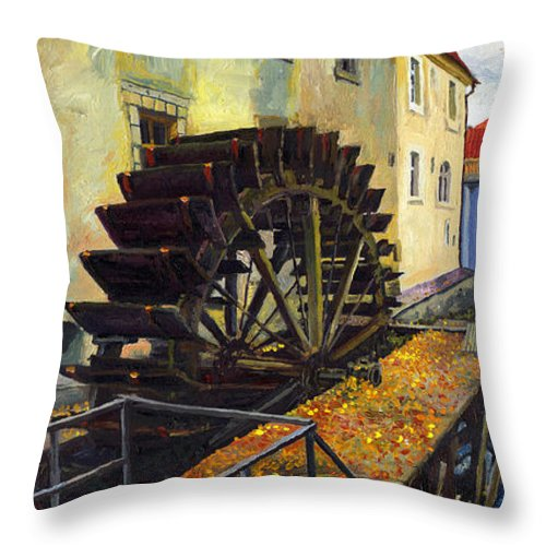 Prague Throw Pillow featuring the painting Prague Chertovka by Yuriy Shevchuk