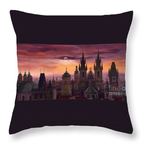 Cityscape Throw Pillow featuring the painting Prague City Of Hundres Spiers by Yuriy Shevchuk