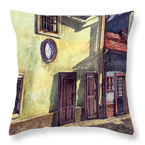Watercolour Throw Pillow featuring the painting Prague Golden Line Street by Yuriy Shevchuk