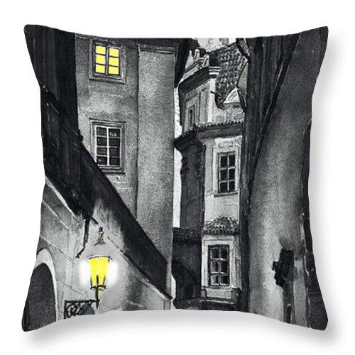 Prague Throw Pillow featuring the digital art Prague Love Story by Yuriy Shevchuk