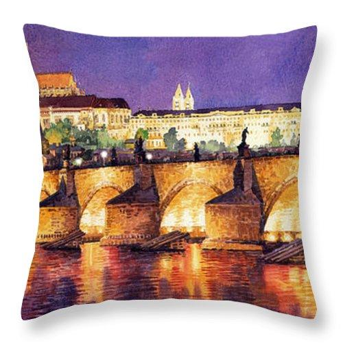 Watercolour Throw Pillow featuring the painting Prague Night Panorama Charles Bridge by Yuriy Shevchuk