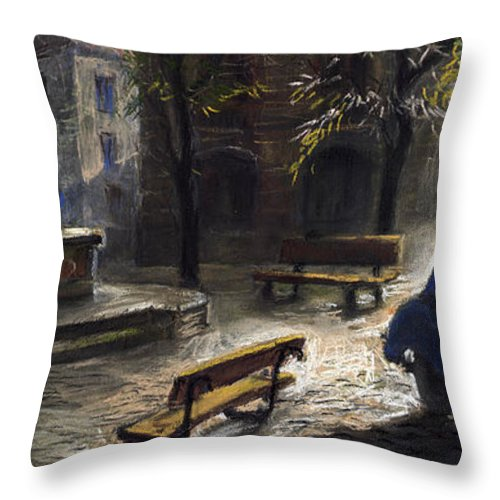 Prague Throw Pillow featuring the painting Prague Old Fountain by Yuriy Shevchuk