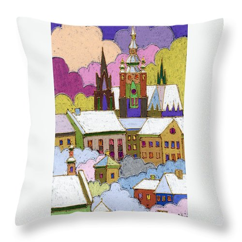 Pastel Throw Pillow featuring the painting Prague Old Roofs Prague Castle Winter by Yuriy Shevchuk