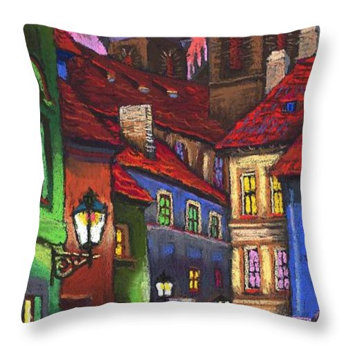 Pastel Throw Pillow featuring the painting Prague Old Street 01 by Yuriy Shevchuk