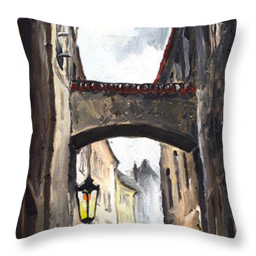 Oil On Canvas Paintings Throw Pillow featuring the painting Prague Old Street 02 by Yuriy Shevchuk