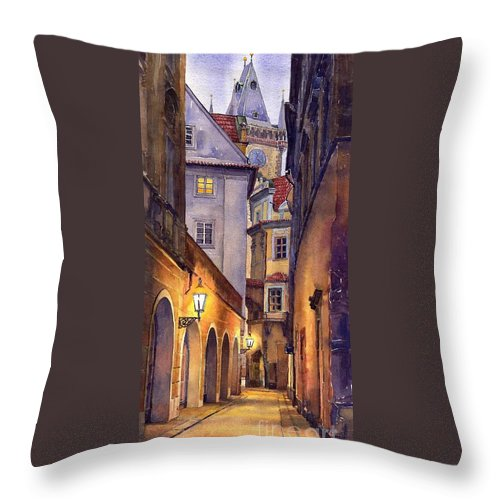 Cityscape Throw Pillow featuring the painting Prague Old Street by Yuriy Shevchuk