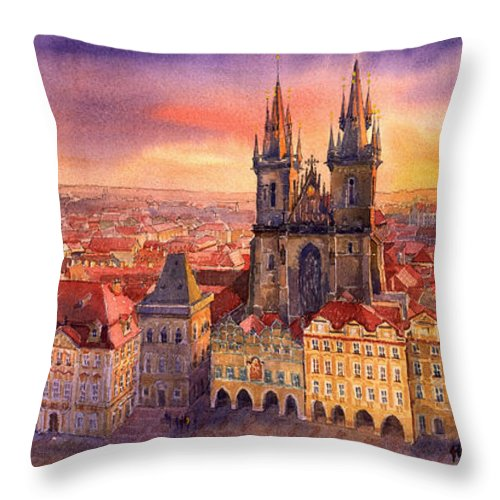 Watercolour Throw Pillow featuring the painting Prague Old Town Square 02 by Yuriy Shevchuk