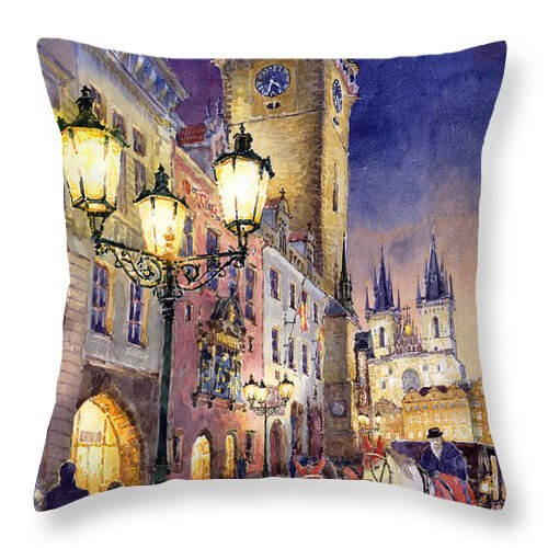 Cityscape Throw Pillow featuring the painting Prague Old Town Square 3 by Yuriy Shevchuk