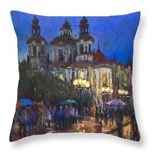 Prague Throw Pillow featuring the pastel Prague Old Town Square St Nikolas Ch by Yuriy Shevchuk