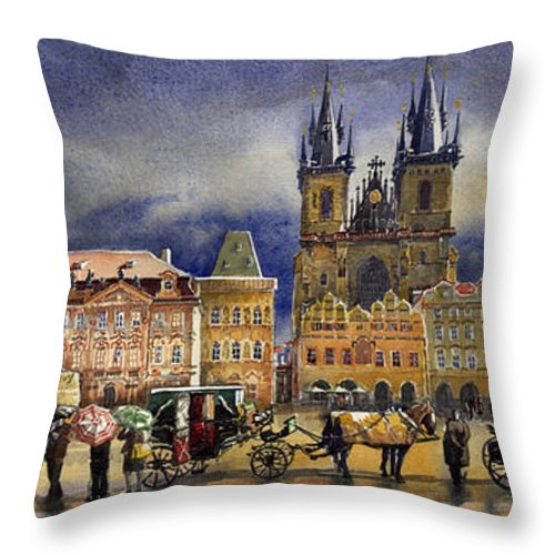 Watercolor Throw Pillow featuring the painting Prague Old Town Squere After Rain by Yuriy Shevchuk