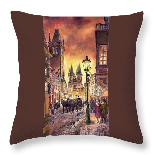 Cityscape Throw Pillow featuring the painting Prague Old Town Squere by Yuriy Shevchuk